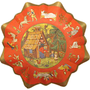 Pre WWII German Christmas Candy Fairy Tale Cardboard Bowl