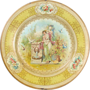 SALE Victorian Vienna Art Plate with Woman Doves Pigeons
