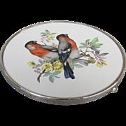 SALE Vintage Wallace Sterling Porcelain European Bullfinch Hotplate Trivet