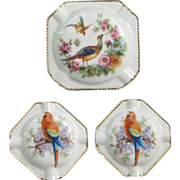 SOLD Bavaria Parrot Birds Ashtray Set