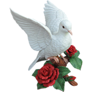 SOLD Lenox Christmas Dove with Roses