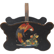 Arts and Crafts Deco Magazine Holder with Hand Painted Macaw Parrot