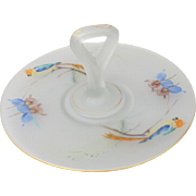 Tiffin Glass Handled Server Tray with Parrots