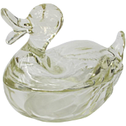Vintage Jeanette Glass Duck Powder Jar