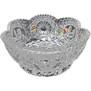 Crystal Hobauer Germany Scalloped Bird Bowl