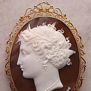 SALE PENDING Magnificent Large Victorian Museum Quality Cameo of Arethusa