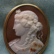 SALE PENDING Outstanding Museum Quality Antique Cameo of a Bacchante in Renaissance Style
