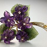 Vintage Bouquet of Violets Brooch - Diamonds, Amethyst, Jade