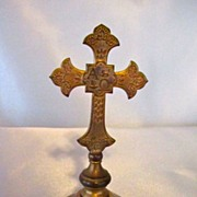 SOLD Small Vintage Brass Crucifix/Cross Stands On Base