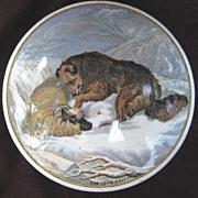 c.1800's Small Porcelain Jar/Pot With Collie/Sheltie Dog