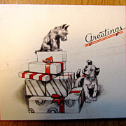 Small Vintage Christmas Card Scotty/Fox Terrier Dogs