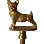 Brass Fireplace Hearth Fork French Bulldog Vintage