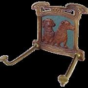 Very Rare Judd Dachshund Art Nouveau Tie/Leash Rack