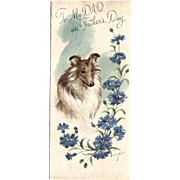 Vintage Collie/Sheltie Father's Day Card Signed