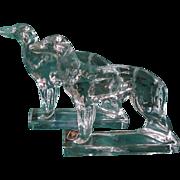 Vintage Viking Glass Borzoi Dog Bookends w/Label