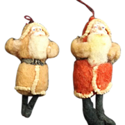Two Cotton Batting Antique Santa Ornaments for Doll's Christmas Tree