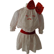 SOLD Dress For a Large Doll with Red Sash & Red Hair Bow