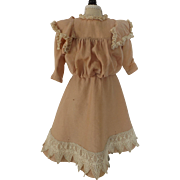 Pretty Peachy Pink Antique Wool Doll Dress