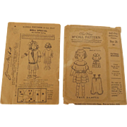 Two Vintage McCall Doll Dress Patterns