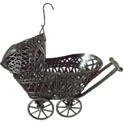 Vintage Small Metal Doll Carriage Christmas Ornament