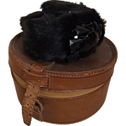 Leather Hat Box with Vintage Doll Hat