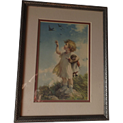 A World Of Happiness Framed Print--Girl with Raggedy Ann Doll