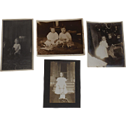 Four Photos of Children With Dolls and Toys