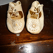 SALE Nice pair of ivory antique doll shoes