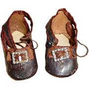 Wonderful pair of early antique Bru type doll shoes