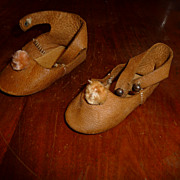 Nice pair of sturdy, heavy leather antique doll shoes