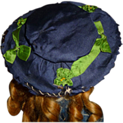 Charming antique silk wide brim wired small doll bonnet