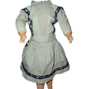 Charming antique blue cotton dropped waist doll dress