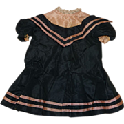 SOLD Beautiful antique navy and pink silk taffeta antique dress for small doll
