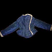 Wonderful antique french fashion garment in blue silk