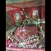 Display wedding cushion wax flowers red colour