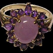 Lavender Jadeite jade Amethyst 14K yellow gold ring size 9.5