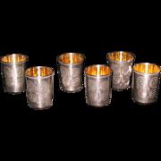 Russian Estonian 916 silver set of 6 shot cups glasses gilded inside c. 1958
