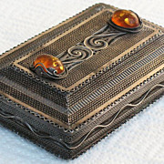 REDUCED Russian 875 silver filigree box with Amber cabochons hallmarked