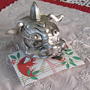 REDUCED Japanese sterling silver SHISHI-mai mask card holder chopstick  sign JunGin