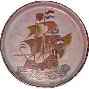 SALE Enamel on copper Canton presentation  plaque with Dutch VOC Black ship Chinese ca 1800