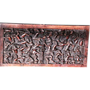 carved zitan wood panel with continuous tribal life activities east Africa Zanzibar