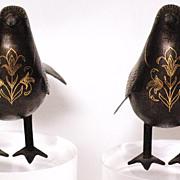REDUCED Pair Iron birds gold inlaid hammered design Persia 18/19 century