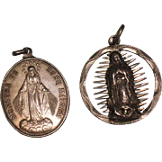 Two sterling silver Catholic medals 1948 Congregation Children of Mary & 1943 Virgin Mary
