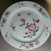 SALE Chinese porcelain  plate cranes and flowers design 18th century