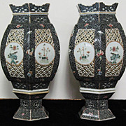 REDUCED Chinese porcelain  lanterns pair 19th century 12.5""