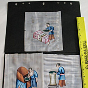 SALE Chinese set of 3 gouaches paintings on pith rice paper of  3 craftsman Ching ...