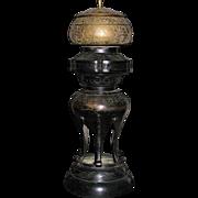 Chinese Buddhist Temple bronze  joss incense burner on stand 18/19th century