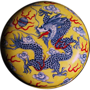 Chinese Canton enamel on copper ink box Dragon sign