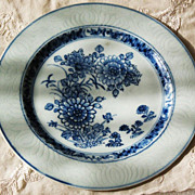 SALE Chinese porcelain plate early Kangxi 17th century blue and white flowers incised lotus ..