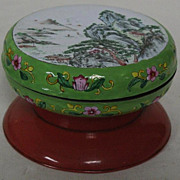 SALE Chinese ink box round enamel on brass Canton  with mountain landscape